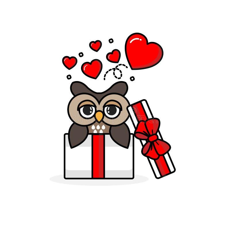 Glückliche Eule innerhalb der offenen Geschenkbox mit Fliegenherzen Auch im corel abgehobenen Betrag stock abbildung