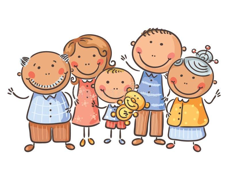 Glückliche fünfköpfige Familie, Karikaturgraphiken, Vektorillustration vektor abbildung