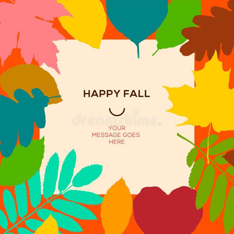 Glückliche Fallschablone mit Herbstlaub und einfachem Text stock abbildung