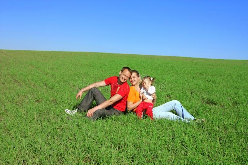 Glückliche Familie auf dem Gras lizenzfreie stockbilder