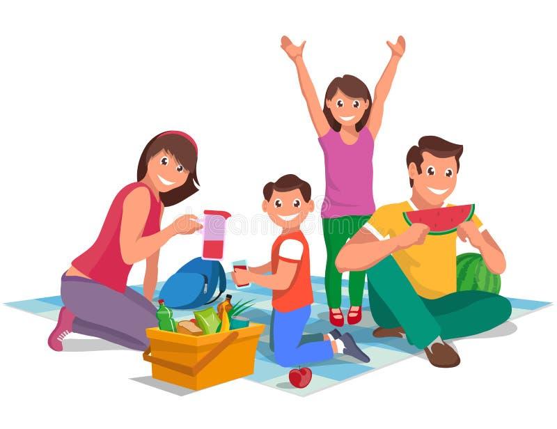 Glückliche Familie auf einem Picknick, Gestaltungselement stock abbildung