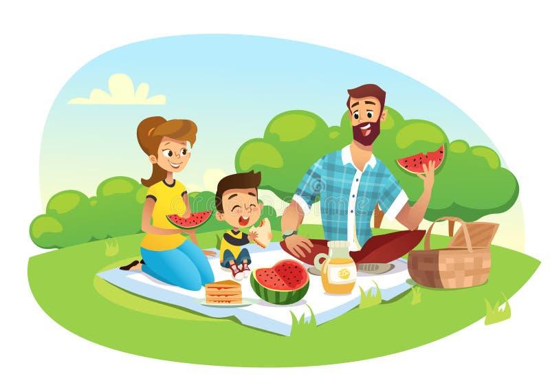 Glückliche Familie auf einem Picknick Vati, Mutter, Sohn stehen in der Natur still Vektorillustration in einer flachen Art vektor abbildung