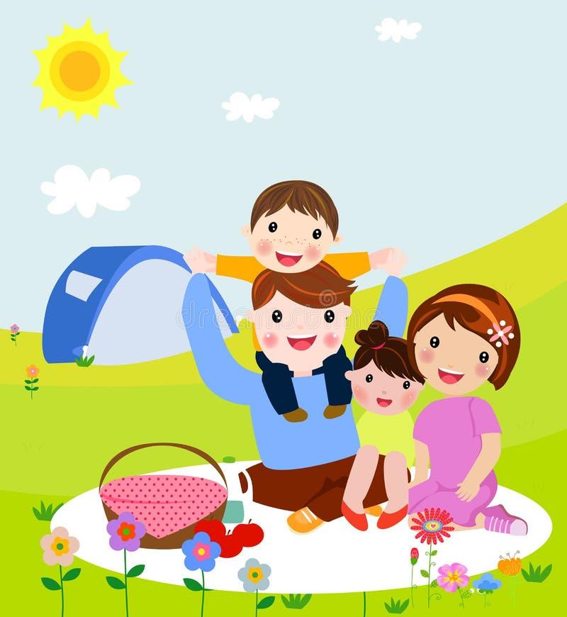 Glückliche Familie auf einem Picknick Vati, Mutter, Sohn und Tochter stehen in der Natur still Vektorillustration in einer flache stock abbildung
