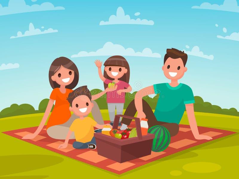 Glückliche Familie auf einem Picknick Vati, Mutter, Sohn und Tochter stehen still lizenzfreie abbildung