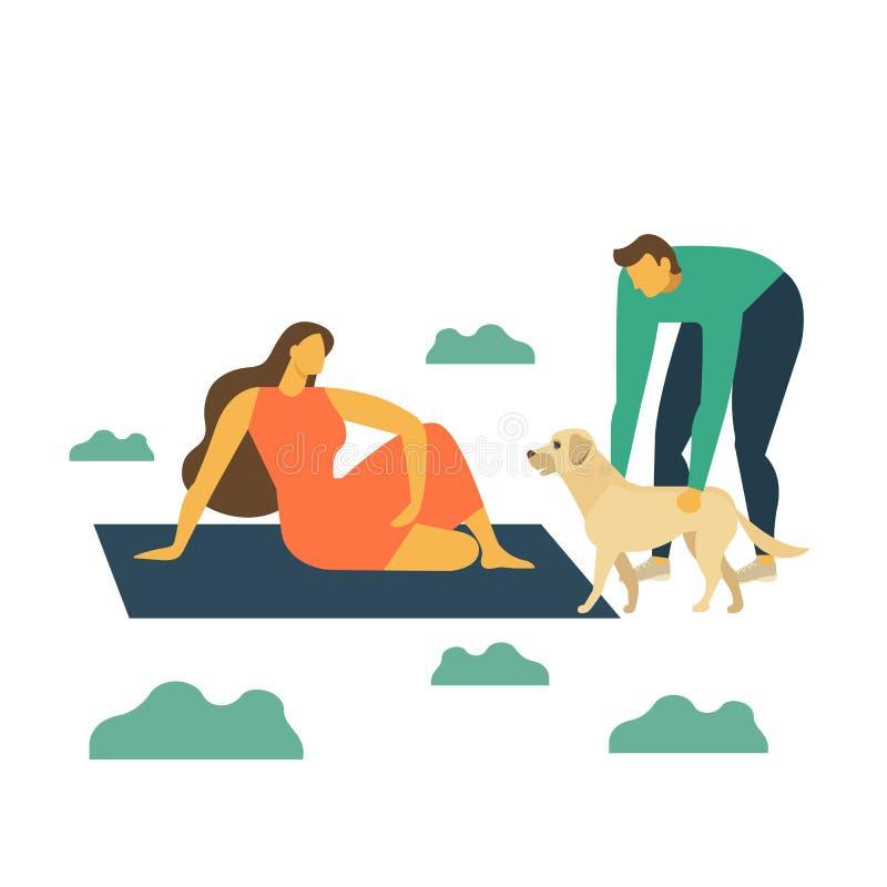 Glückliche Familie auf Picknick Junger Mann, Frau und Hund stehen Natur still Vektor-Illustrations-flache Art stock abbildung