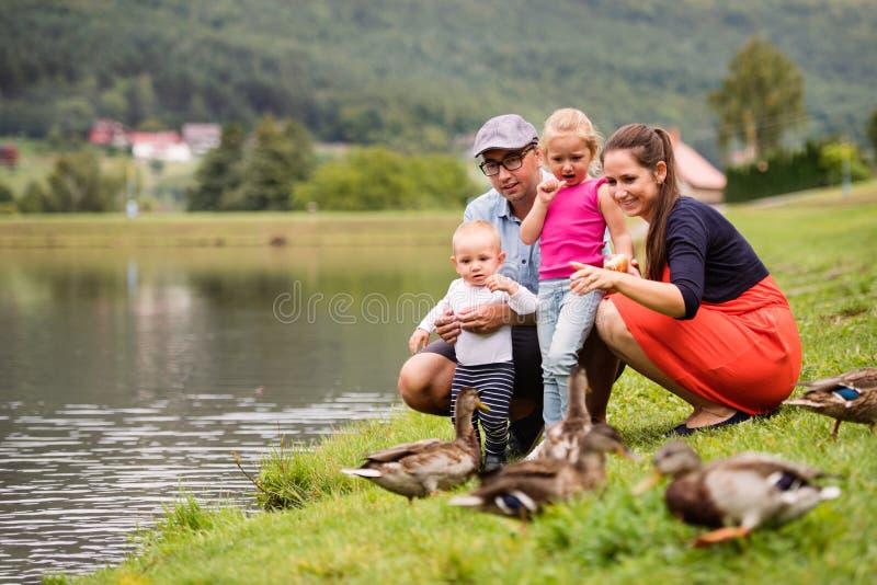 Glückliche Familie in der Natur im Sommer lizenzfreie stockfotografie