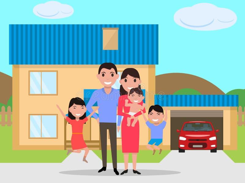 Glückliche Familie der Vektorkarikatur kaufte ein neues Haus lizenzfreie abbildung