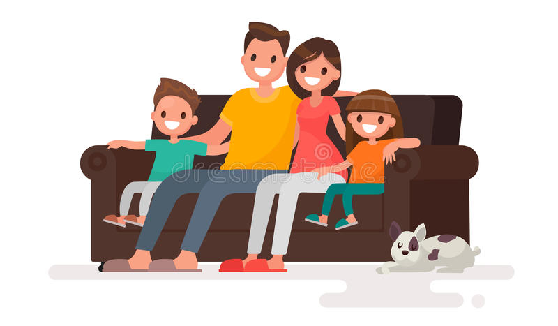 Glückliche Familie, die auf dem Sofa sitzt Vater, Mutter, Sohn und daught stock abbildung