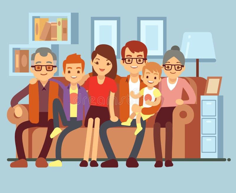Glückliche Familie, die auf Sofa sitzt Flache Vektorillustration des Großvaters und der Großmutter, der Eltern und der Kinder stock abbildung