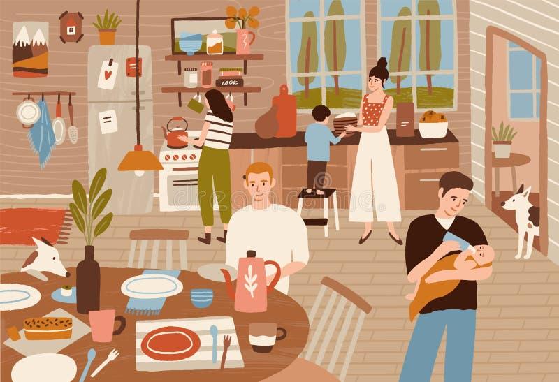 Glückliche Familie, die in der Küche und in dienendem Speisetische kocht Lächelnde Erwachsene und Kinder, die Mahlzeiten für Aben vektor abbildung