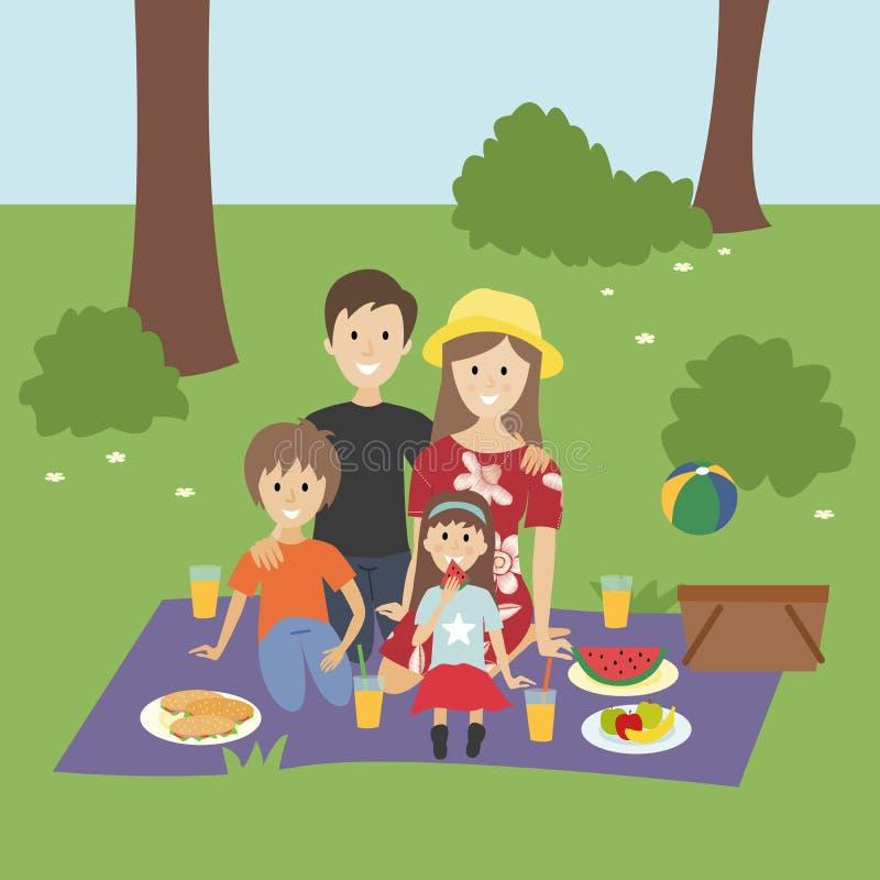 Glückliche Familie, die ein Picknick hat lizenzfreie abbildung