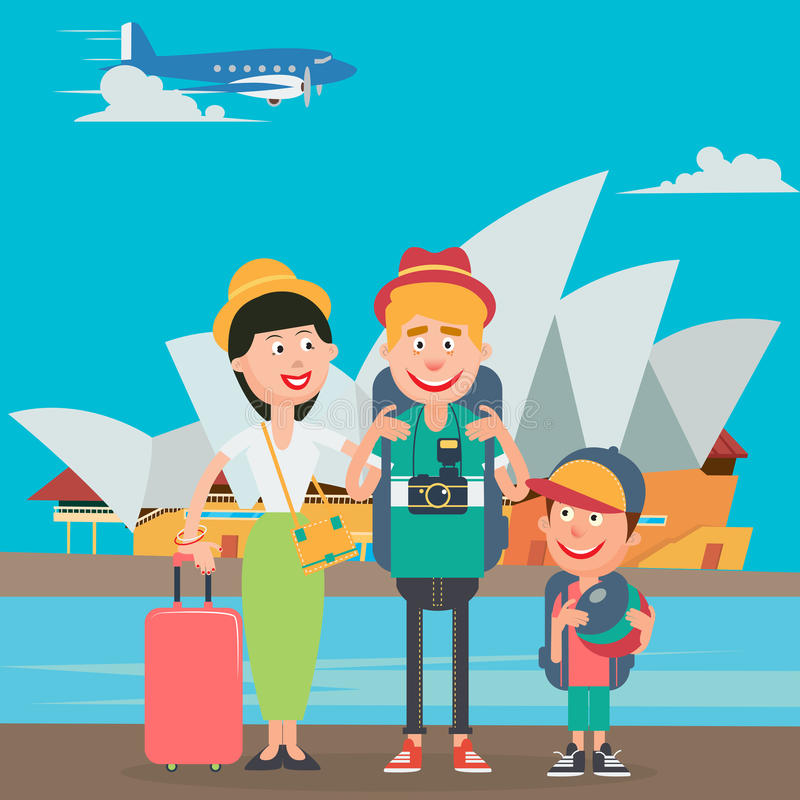 Glückliche Familie, die mit dem Flugzeug nach Australien reist Vater, Mutter und Sohn mit Opern-Gebäude vektor abbildung
