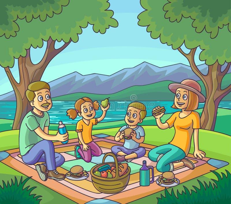 Glückliche Familie, die Picknick draußen hat lizenzfreie abbildung