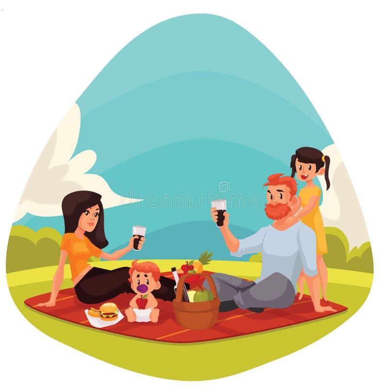 Glückliche Familie, die Picknick zusammen draußen hat lizenzfreie abbildung