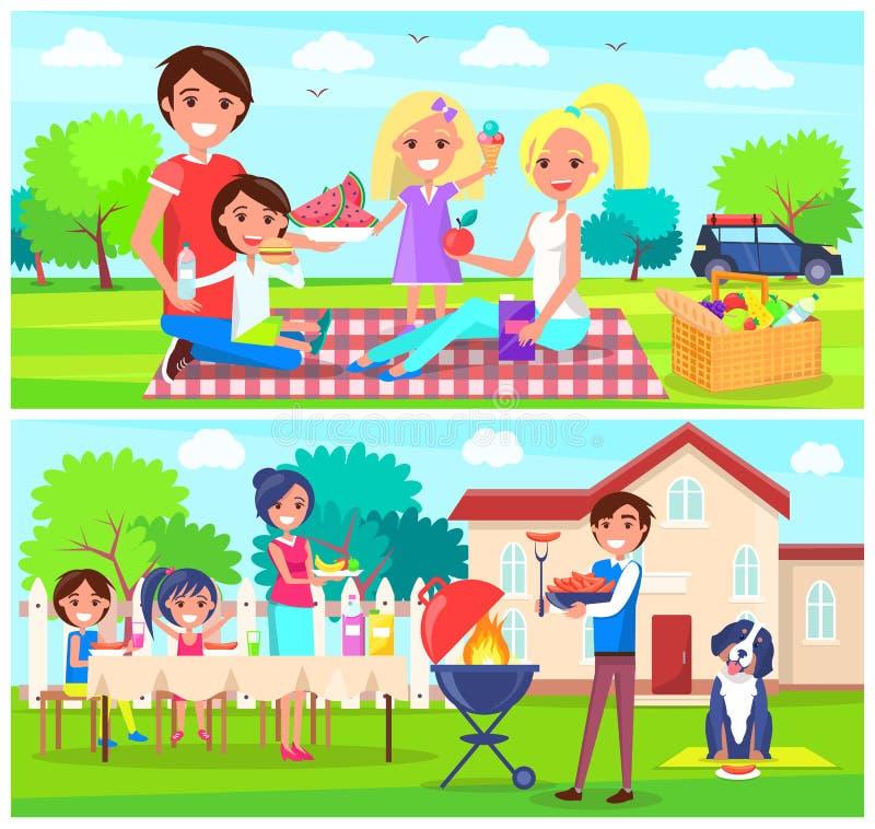 Glückliche Familie, die Picknick zusammen in Forest Home hat lizenzfreie abbildung