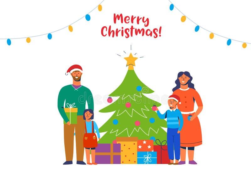 Glückliche Familie, die Weihnachtsbaum verziert Winterurlaub-Charaktere zu Hause mit Geschenken Eltern-und Kinderneues Jahr stock abbildung