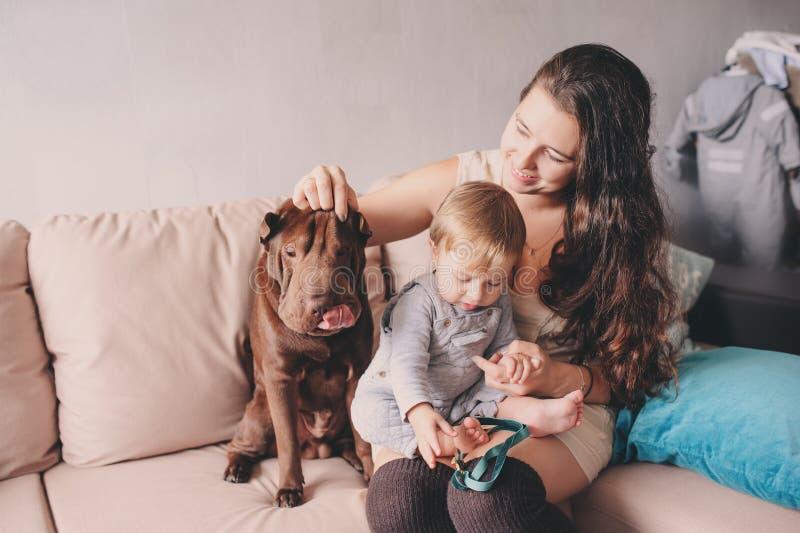Glückliche Familie, die zu Hause mit Hund spielt Mutter und Baby, die Plätzchen essen stockfoto
