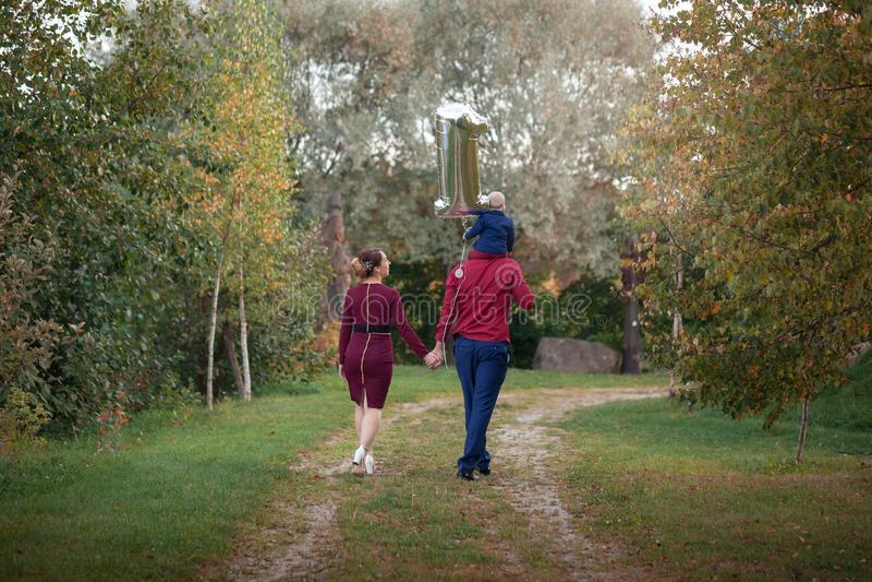 Glückliche Familie gehen in den Park Glück im Elternleben an einem Sommertag Rückseitige Ansicht lizenzfreie stockbilder