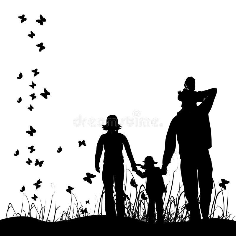 Glückliche Familie geht auf Natur stock abbildung
