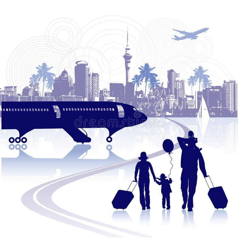 Glückliche Familie im Flughafen, Stadtbild stock abbildung