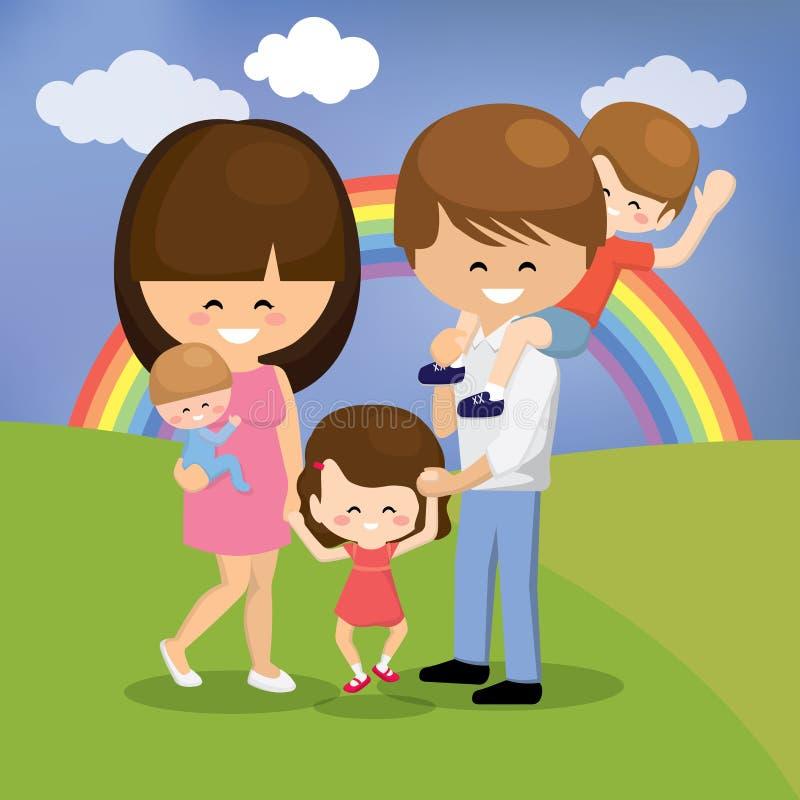 Glückliche Familie mit drei Kindern stockbilder