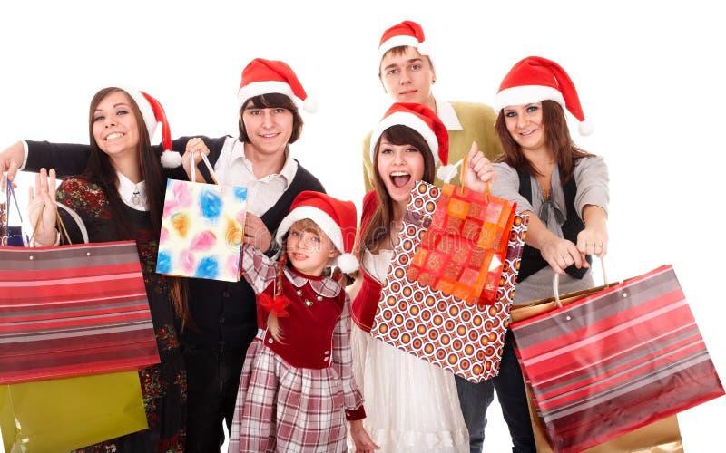 Glückliche Familie mit Einkaufstaschegruppe. lizenzfreies stockfoto
