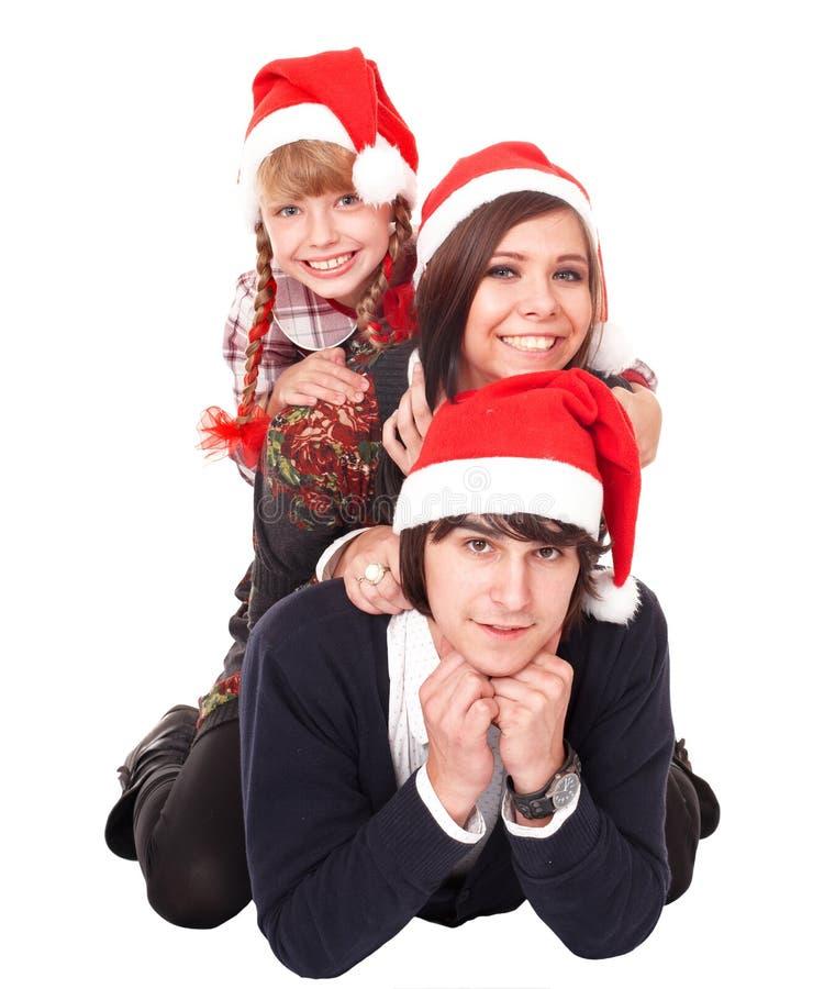 Glückliche Familie mit Kind im Sankt-Hut. stockbild