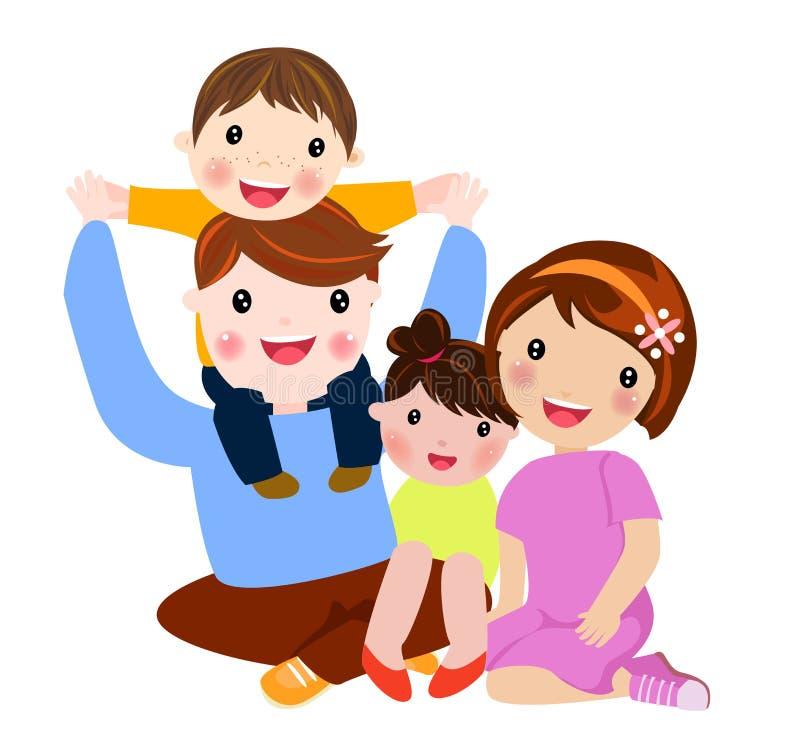 Glückliche Familie mit zwei Kindern stock abbildung