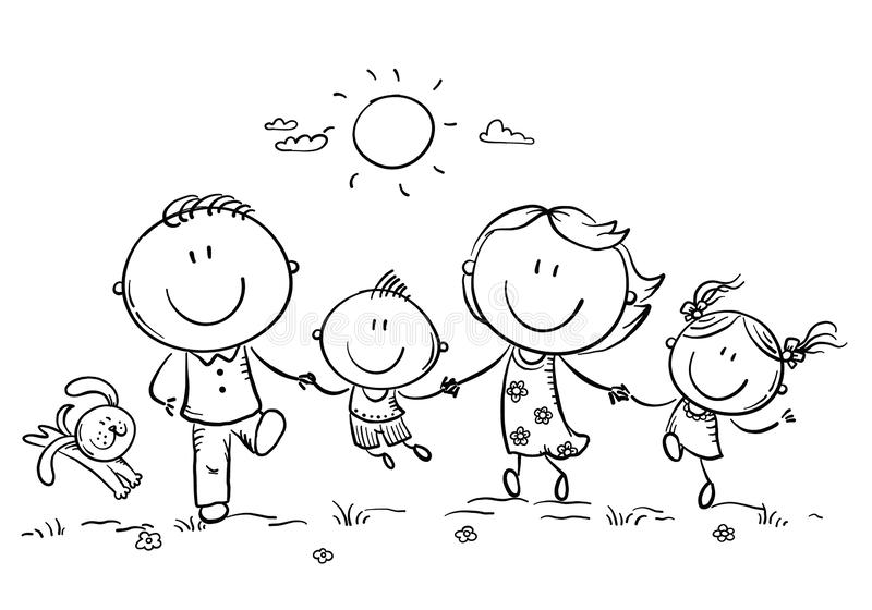 Glückliche Familie mit zwei Kindern, die den Spaß draußen läuft, Entwurf haben stock abbildung