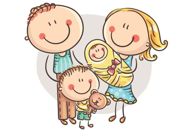 Glückliche Familie mit zwei Kindern, Karikaturgraphiken lizenzfreie abbildung