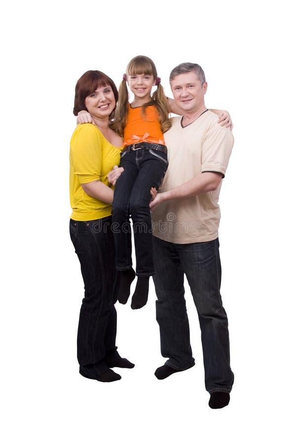 Glückliche Familie. Mutter, Vater und Tochter stockfotografie