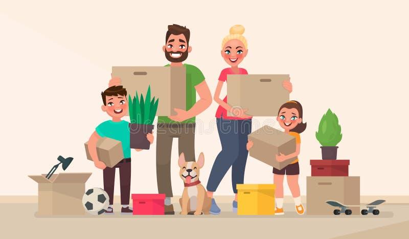 Glückliche Familie und Bewegen auf ein neues Haus Kaufen eines neuen Hauses oder des apa lizenzfreie abbildung