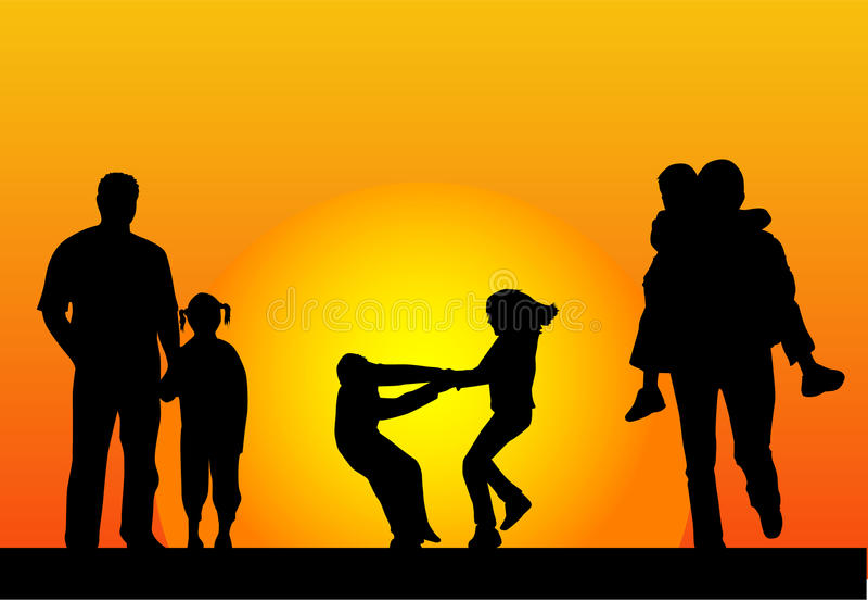 Glückliche Familie und ein schöner Sonnenuntergang lizenzfreie abbildung