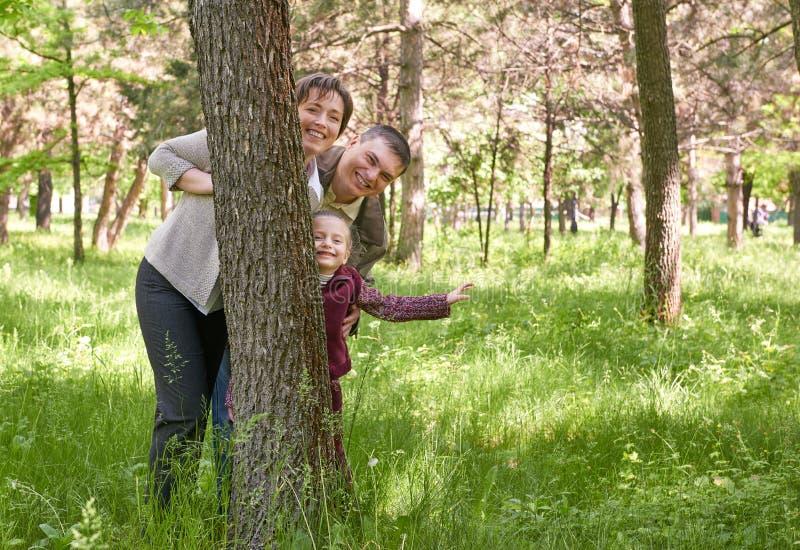 Glückliche Familie und Kind im Sommerpark Leute, die hinter einem Baum sich verstecken und spielen Schöne Landschaft mit Bäumen u lizenzfreie stockfotografie