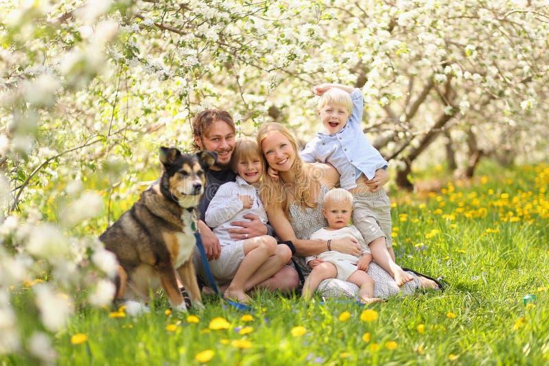 Glückliche Familie und Schoßhund, die im Blumen-Obstgarten sich entspannt lizenzfreies stockbild