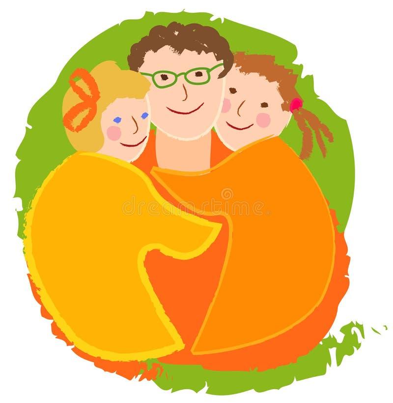 Glückliche Familie, Vati mit Töchtern vektor abbildung