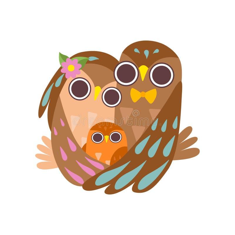 Glückliche Familie von den Eulen, die zusammen umarmen, von Vater, von Mutter und von ihrem Baby, nette Karikatur-Vogel-Charakter stock abbildung