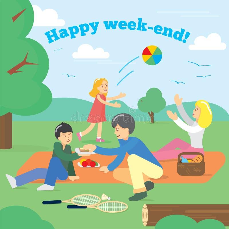 Glückliche Familie am Wochenende Vierköpfige Familie im Herbstwald Partei-Picknick, Lebensmittel, Sommer Auch im corel abgehobene lizenzfreie abbildung