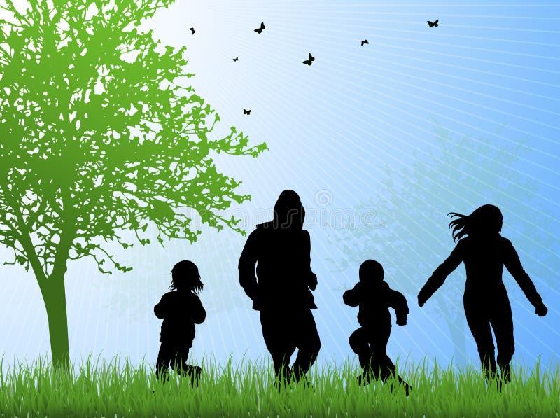 Glückliche Familie zusammen draußen stock abbildung