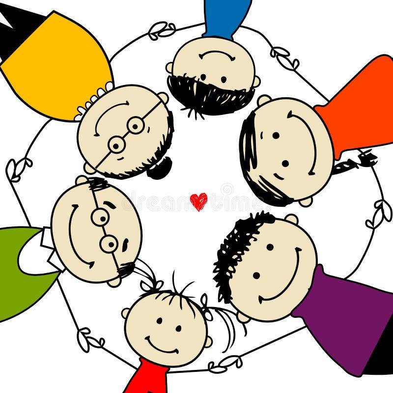 Glückliche Familie zusammen, Feld für Ihre Auslegung stock abbildung