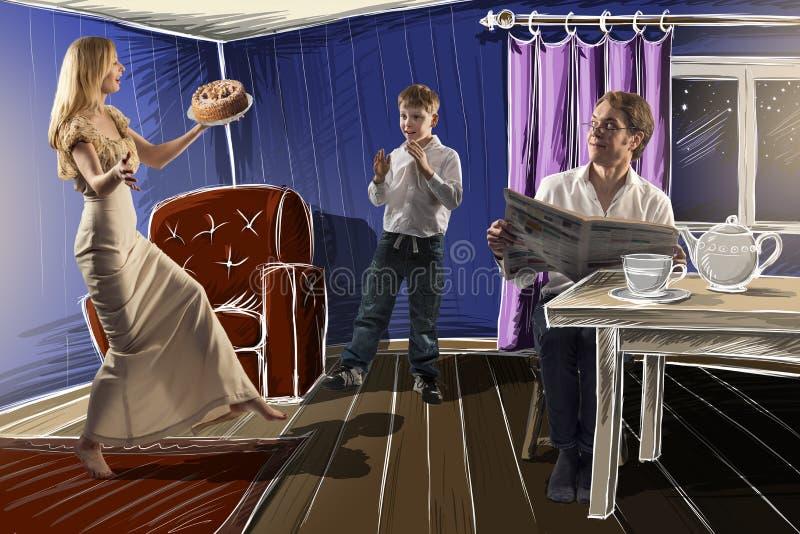 Glückliche Familiemutter überraschend ihr Sohn und Ehemann mit einem Kuchen, Illustration stockfoto
