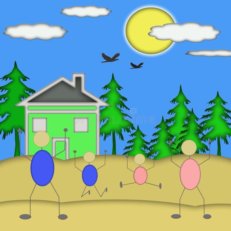 Glückliche Familien-aufgeregtes neues Haus stock abbildung