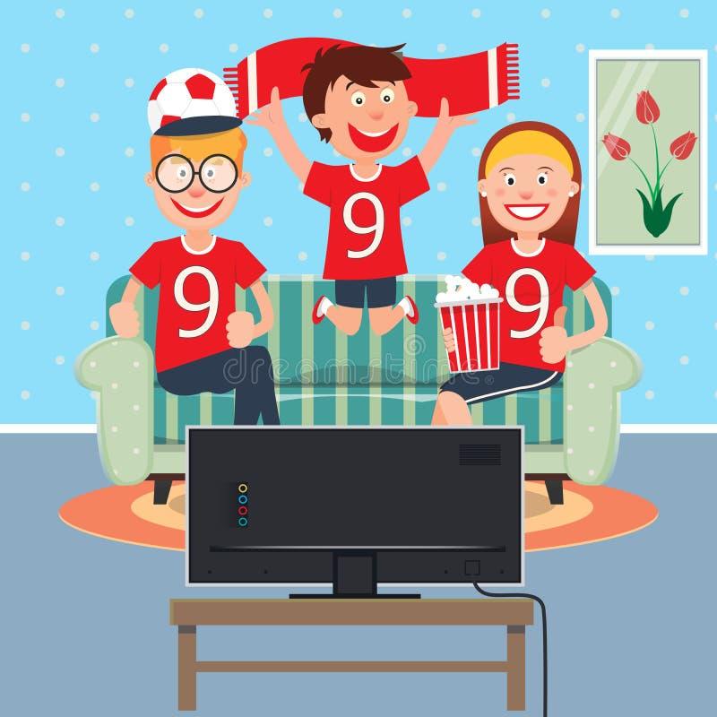 Glückliche Familien-aufpassender Fußball zusammen im Fernsehen lizenzfreie abbildung
