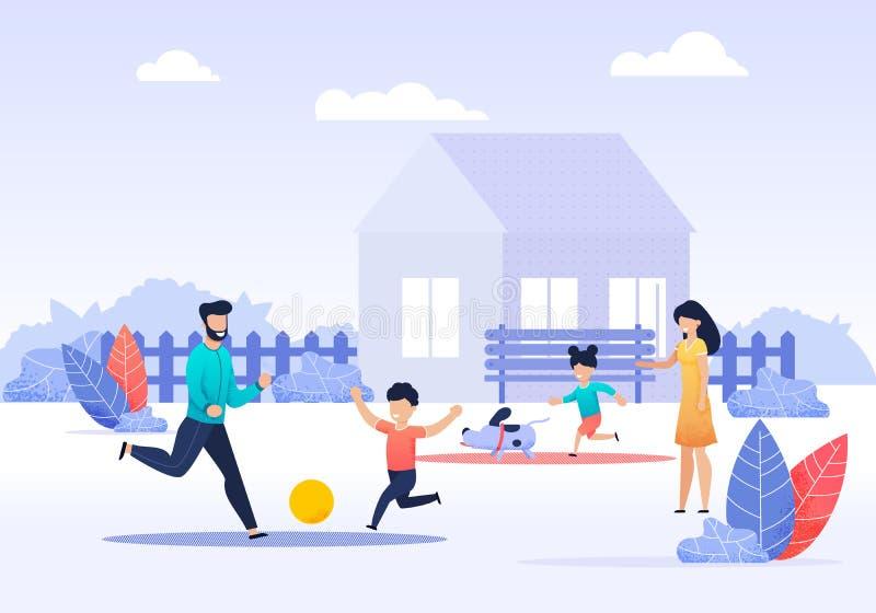 Glückliche Familien-Ausgaben-Zeit auf Hinterhof-Karikatur vektor abbildung