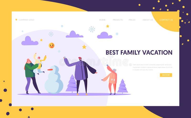 Glückliche Familien-Charaktere, die Schneeball auf den Winterurlauben Seiten-Schablone landend spielen Mutter-, Vater-und Kinders lizenzfreie abbildung