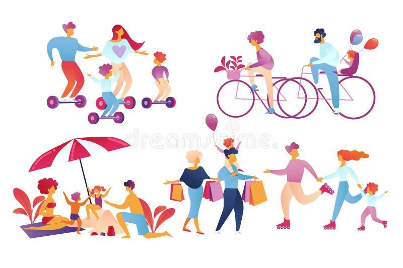 Glückliche Familien-Freizeitaktivität lokalisiert auf Weiß lizenzfreie abbildung