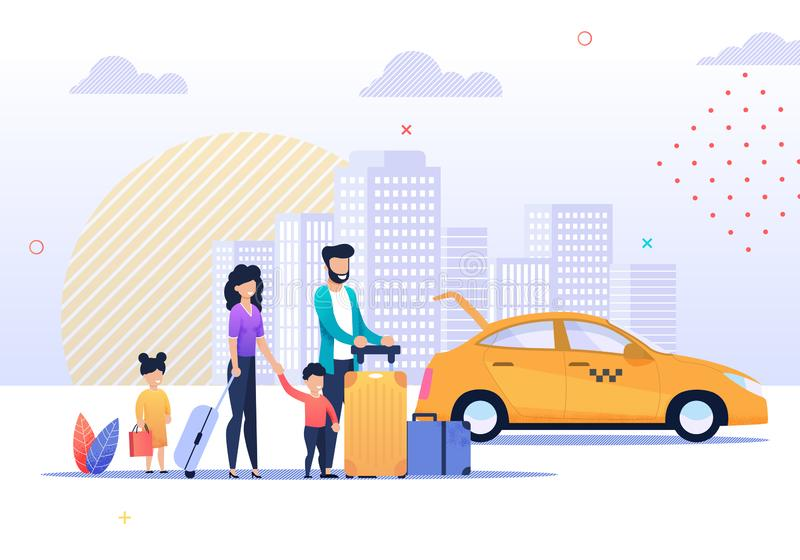 Glückliche Familien-Reise und Taxi-Service-Illustration lizenzfreie abbildung