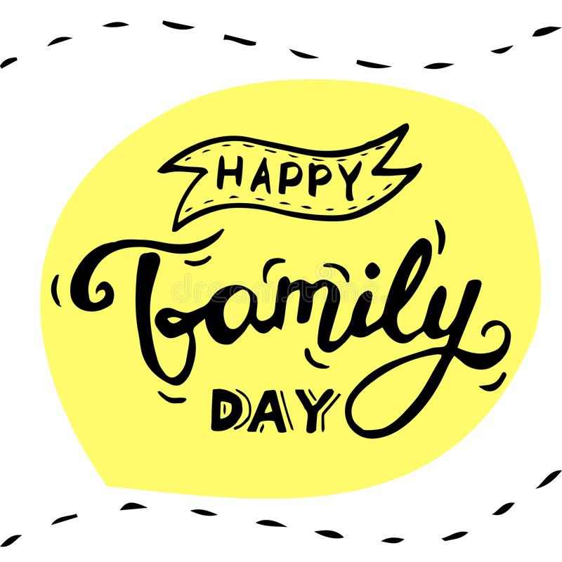 Glückliche Familien-Tagesbeschriftung vektor abbildung