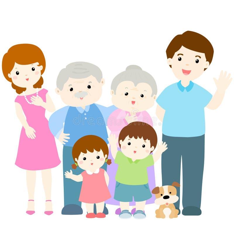 Glückliche Familiencharakterdesignillustration stock abbildung