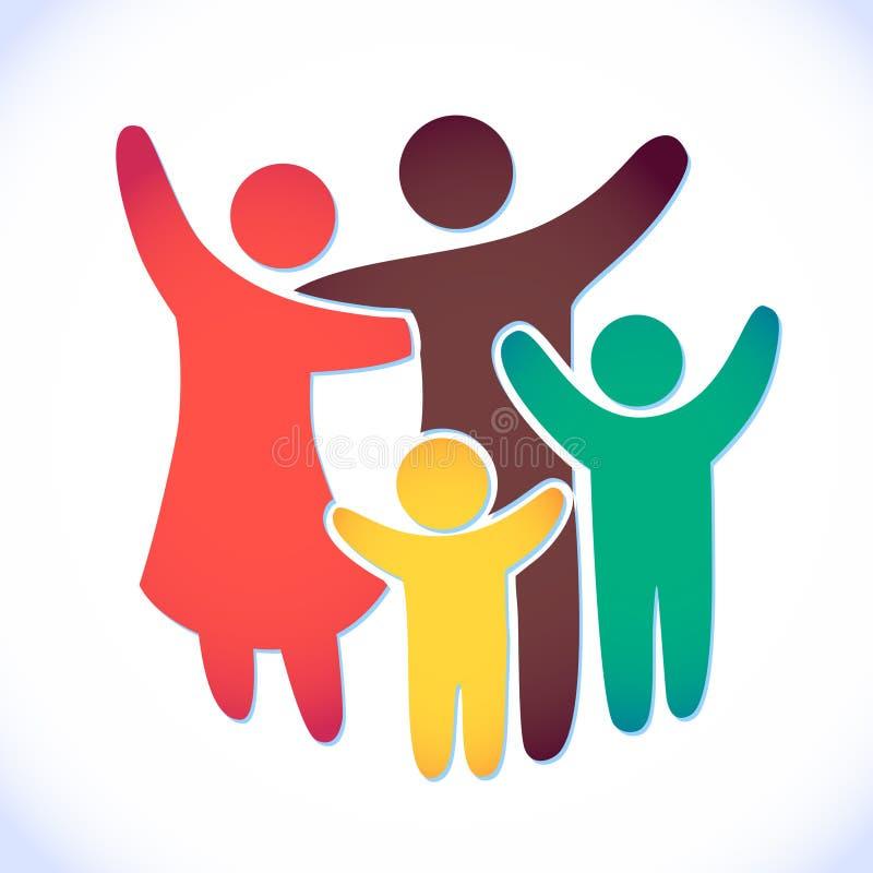 Glückliche Familienikone mehrfarbig in den einfachen Zahlen Zwei Kinder, Vati und Mutter stehen zusammen Vektor kann als Firmenze lizenzfreie abbildung